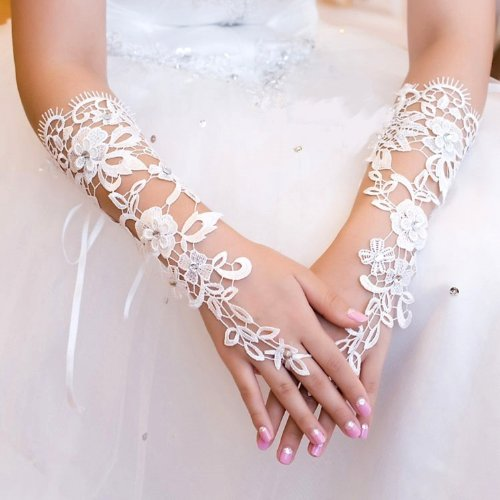 BRL MALL Exquisite White Fingerless Sequins Rhinestone Bridal Glove