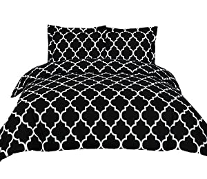 3 Piece Duvet Cover Set (Queen, Black) Duvet Cover with 2 Pillow Shams - Hotel Quality Brushed Microfiber - Luxurious & Extremely Durable - by Utopia Bedding