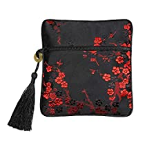 Tasseled Silk Brocade Coin Purse Jewelry Pouch (Plum Blossom, Black-Red)