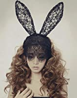MKPLY Women Sexy Rabbit Ears Lace Mask Veil Christmas Halloween Venetian Metal Filigree Mysterious Masquerade