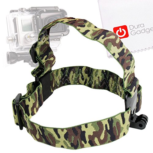 Duragadget Green Camo Print Fully Adjustable Head Strap Mount For Gopro Hero 4 (Black & Sliver), Hero, 3+ (Plus), 3, 2, 1 & Hd Hero, Naked/Helmet / Lcd Bacpak (Black, White, Silver, Surf, Outdoor & Sport Editions)