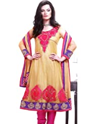 Exotic India Khaki Choodidaar Kameez Suit With Crewel Embroidery On Neck - Khaki