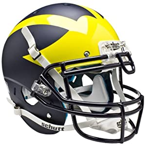 MICHIGAN WOLVERINES Schutt AiR XP Full-Size AUTHENTIC Football Helmet (MATTE NAVY... by ON-FIELD