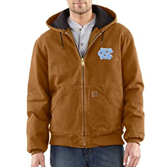 NCAA North Carolina Tar Heels Mens Quilted Flannel Lined Sandstone Active Jacket by Carhartt