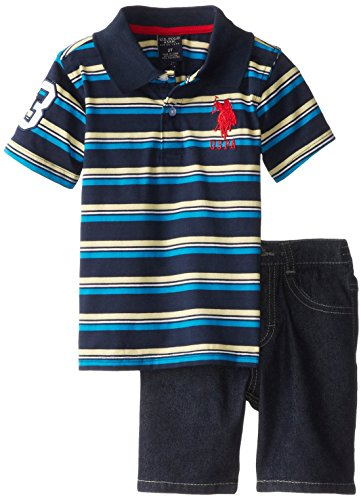 U.S. Polo Assn. Little Boys' 2 Piece Play Set Stripe Jersey Polo And 5-Pocket Denim Short, Classic Navy, 3T