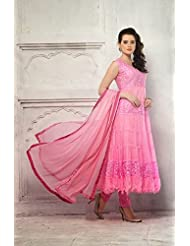 Fabfiza Light Pink Net Brasso Designer Anarkali Stitched Suit