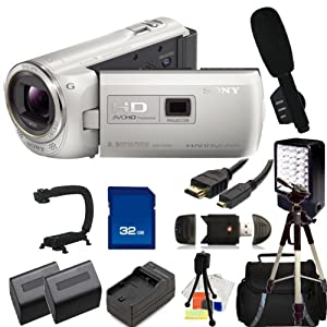 Sony HDR- PJ380 Full HD 16GB Camcorder (White) with 32GB SD, Reader, 2 Extended Life Replacement Batteries, Charger, HDMI, LED Video light, Microphone, Stabilizer, Case, Tripod - SSE Accessory Kit