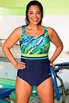 Aquabelle Diagonal Paint Plus Size Empire Swimsuit Plus Size Swimwear - Navy - Size:18