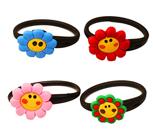 AVIRGO 4 pcs Releasable Ponytail Holder Elastic Rubber Stretchable No-slip Hair Tie Set # 51-6 - 1