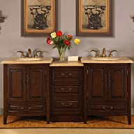 Silkroad Exclusive Travertine Top Double Sink Bathroom Vanity with LED Light Furniture Cabinet ,…