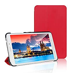 Tab 4 Case, Samsung Tab 4 7.0 Case, JETech® Gold Slim-Fit Smart Case Cover for Samsung Galaxy Tab 4 7 (7.0 inch) Tablet (Red)