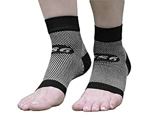 OrthoSleeve FS6 Compression Foot Sleeve (Pair), Black, Large