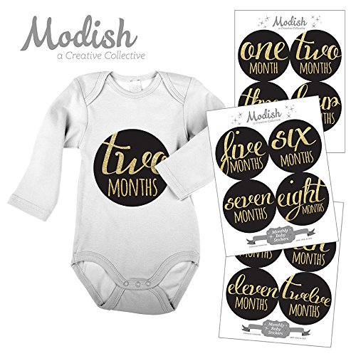 12 Monthly Baby Stickers, Gold Glitter {Faux}, Baby Girl, Baby Belly Stickers, Monthly Onesie Stickers, First Year Stickers Months 1-12, Black, Gold Glitter, Glamour, Fashion
