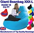 XXX-L GIANT Red Highback Beanbag Water Resistant Beanbags for indoor or outdoor use Great as Gaming Chair or garden chair by Beautiful Beanbags Ltd