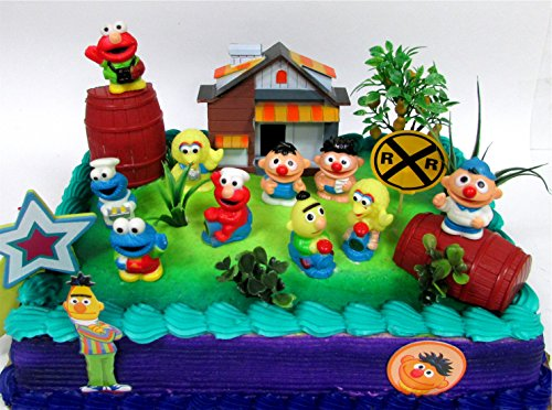 Sesame Street 16 Piece Birthday Cake Topper - Featuring Elmo, Bert, Ernie, Cookie Monster, Big Bird and Themed Accessories