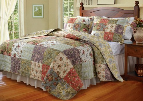 5pc Cottage Country Floral Patchwork Quilt Bedding Set with Pillows Full/Queen