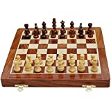 """SouvNear Fine Handmade Rosewood Chess Set - Classic 10"""" Inch Ultimate Wood Magnetic Travel Staunton Chess Game with Folding Storage Board in a Walnut Finish - Wooden Family Indoor Board Games from India"""