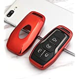Remote Key Fob case cover for Ford smart key chain fit Explorer Edge mustang mondeo Focus MK3 MK4 Ecosport Kuga Escape Fiesta holder bag (RED)