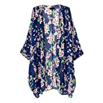 Vintage Women Girls Floral Print Long Loose Kimono Jacket Coat Cardigan Blouses (blue)