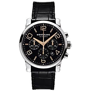 Montblanc 101548 43mm Automatic Stainless Steel Case Black Calfskin Anti-Reflective Sapphire Men's Watch