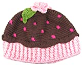 Hip Girl Boutique 100% Cotton Girls Hand-made Brown Chocolate Cupcake Crochet Hat - Size L