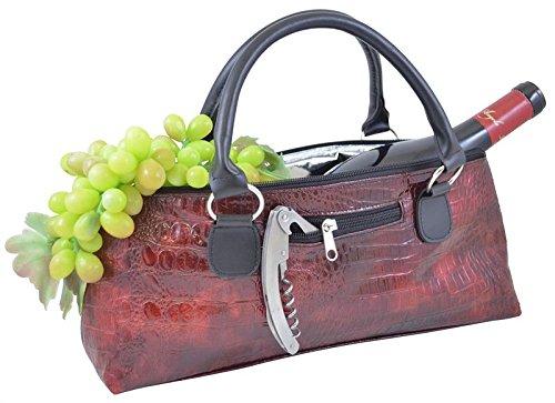 Primeware Clutch Insulated Single Bottle Wine Tote, Burgundy Croc
