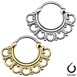 Septum Clicker Hinged Hanger Nose Ring Hoop Cartilage Indian Tribal Fan 3/8″ 16G