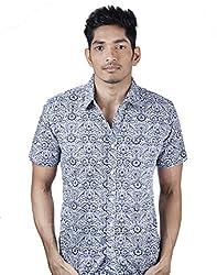 Mavango Uber Cool Blue Printed Slim Fit Casual Cotton Shirt for Men