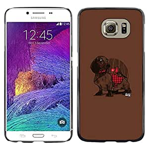 Omega Covers - Snap on Hard Back Case Cover Shell FOR Samsung Galaxy S6 - Dachshund Plaid Red Pattern Cute Dog