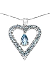 Natural Blue Topaz Heart Shaped Pendant Necklace in 92.5 Sterling Silver. 18 inch long Sterling Silver chain