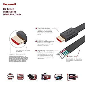 Honeywell M2 Series High-speed HDMI Flat Cable Supports Ethernet, 4K, 3D, Xbox One, PS4, and Audio Return [Newest Standard]-6.5 Feet(2.0Meters) - Grey