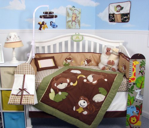 Soho Monkey Business Baby Crib Nursery Bedding Set 13 Pcs Included Diaper Bag With Changing Pad & Bottle Case front-468795