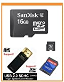 SanDisk 16GB MicroSDHC Memory Card with Adapter (Bulk Package) + SanDisk Mi ....