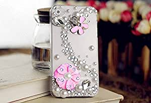 Soft Transparent Luxury Rhinestones Crystal Diamond S Design Pink Flowers Case Back Cover for iPhone 6s
