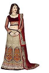 Navyata Women's Net Semi-Stitched Lehenga Choli (1705_Cream_Free Size)