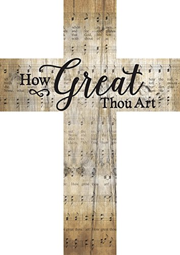How Great Thou Art Music Sheet Design 12 x 9 Wood Wall Art Cross Plaque