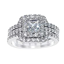 buy Sterling Silver Princess Cut Cubic Zirconia Engagement Ring Wedding Band Set (8)