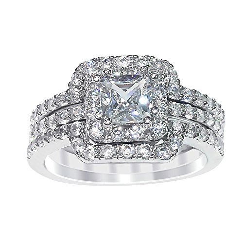 Sterling Silver Princess Cut Cubic Zirconia Engagement Ring Wedding Band Set (7) (Cubic Zirconia Ring Set compare prices)