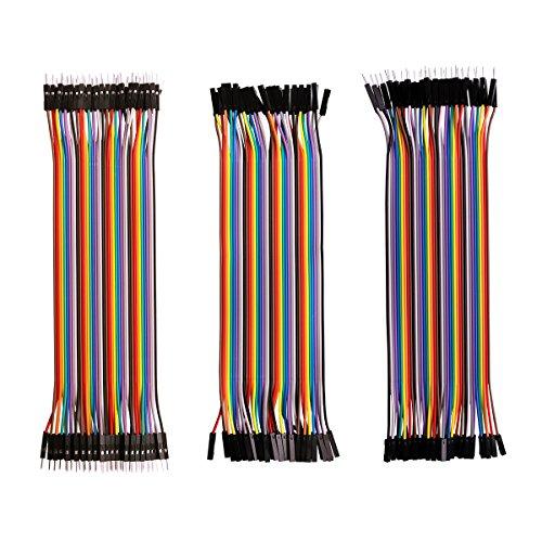 Elegoo 3 En 1 120pcs 20cm Multicolores Dupont fil Dupont Wire Jumper Câble Mâle-Mâle /Femelle-Femelle/Femelle-Mâle pour Arduino