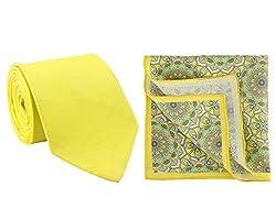 Chokore Lemon Green Silk Tie & Pocket Square set