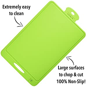 Vikalis Premium Silicone Cutting Board - Durable, Nonslip, Heat Resistant Board for Chopping & Cutting - Green