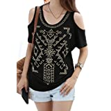 GURAIO Women's Gold Sequin Off Shooulder Blouse Tops Tanks
