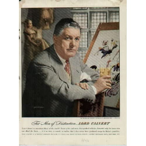 For Men of Distinction   Mr. Russell Patterson, Distinguished Designer and Illustrator, Photographed by SARRA.  1946 LORD CALVERT Whiskey Ad, A5822. 19461007