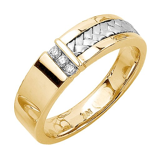 0.09Ct White Diamonds 14K Tri Color Gold Women'S Braided Basket Weave Wedding Band (6Mm) Size-5
