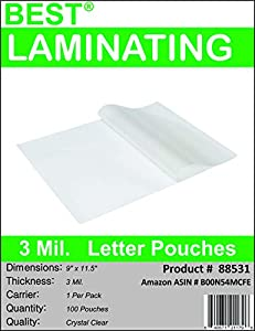 Best Laminating® - 3 Mil Clear Letter Size Thermal Laminating Pouches - 9 X 11.5 - Qty 100