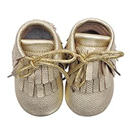 Voberry® Moccasins Tassel Shoes Firstwalker Boots Leather Shoes for Baby Toddler (0~6 Month, Gold)
