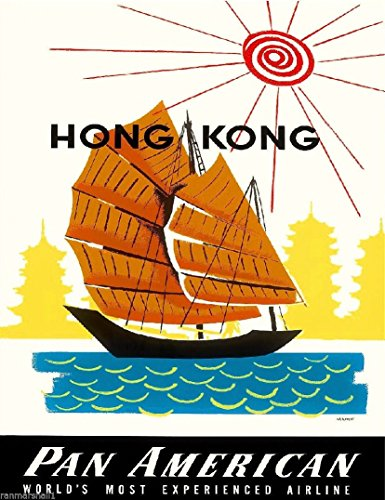 hong-kong-china-chinese-boat-by-clipper-vintage-travel-advertisement-art-poster