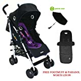 Petite Star Njoy Bubble Reversible Stroller - Black With Purple