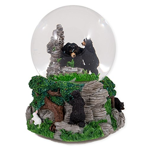 Black Bears in the Woods Glass Musical Snow Globe Plays Song Born Free