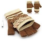 Laptop Womens USB Heated Half & Full Finger Winter Warm Hand Gloves Warmer Wool (Coffee)